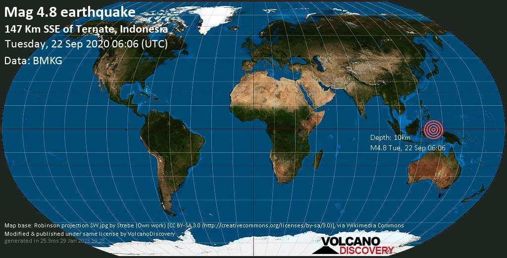 Light mag. 4.8 earthquake  - 147 Km SSE of Ternate, Indonesia on Tuesday, 22 September 2020