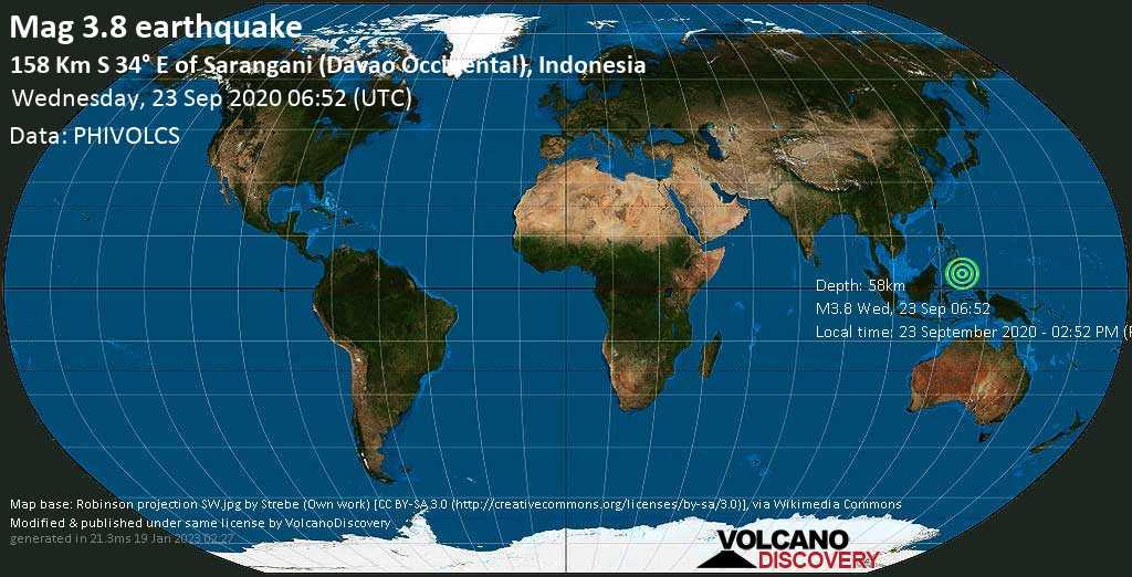 Débil terremoto magnitud 3.8 - Indonesia, 239 km SSE of General Santos (Soccsksargen, Philippines), miércoles, 23 sep. 2020
