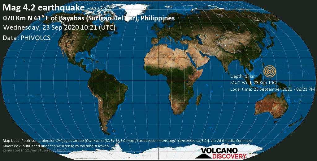 Leggero terremoto magnitudine 4.2 - Philippines Sea, 74 km a est da Tandag, Filippine, mercoledì, 23 settembre 2020