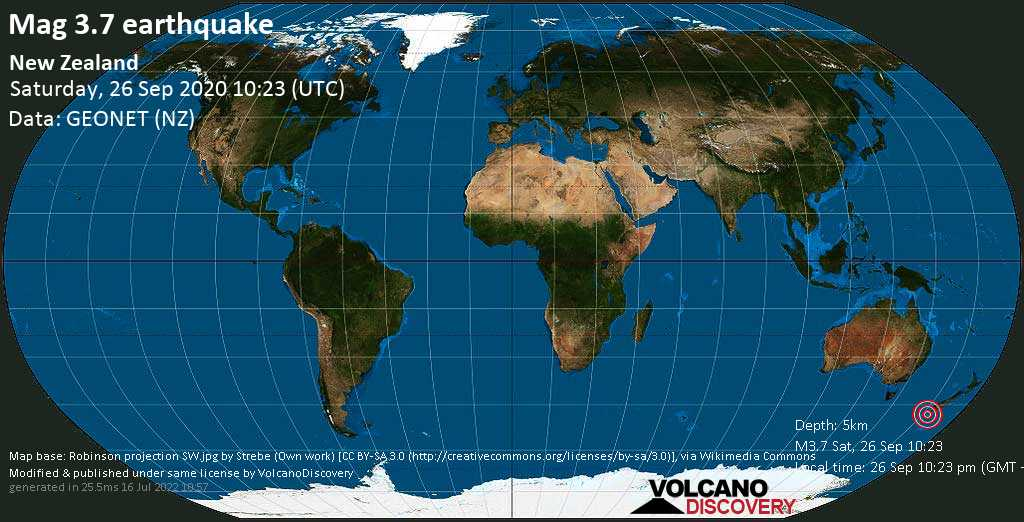 Débil terremoto magnitud 3.7 - Tasman Sea, 249 km SW of Invercargill, Southland, New Zealand, sábado, 26 sep. 2020