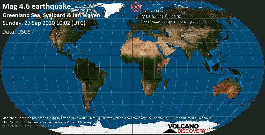 Light mag. 4.6 earthquake  - Greenland Sea, Svalbard & Jan Mayen on Sunday, 27 September 2020