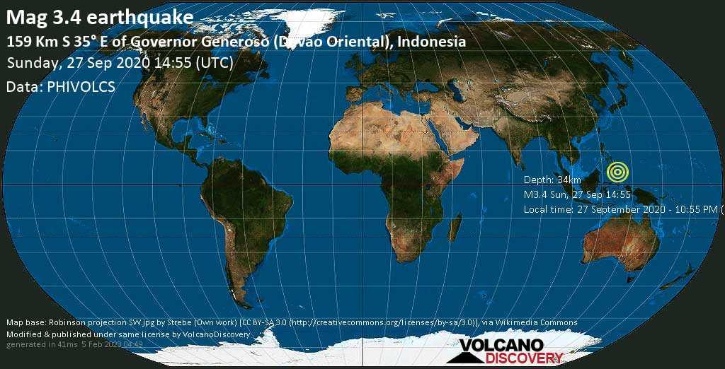 Minor mag. 3.4 earthquake  - 159 Km S 35° E of Governor Generoso (Davao Oriental), Indonesia on Sunday, 27 September 2020