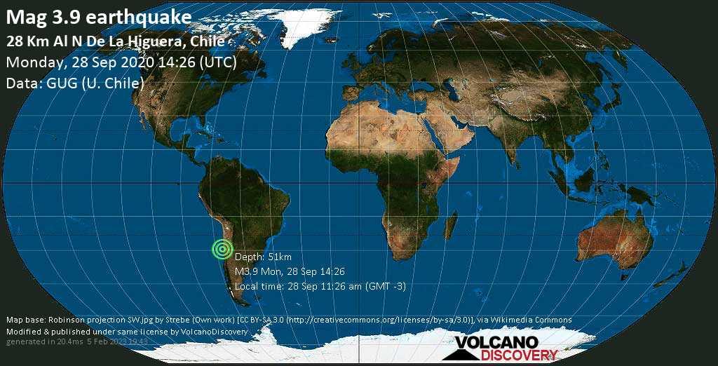 Minor mag. 3.9 earthquake  - 28 Km Al N De La Higuera, Chile on Monday, 28 September 2020