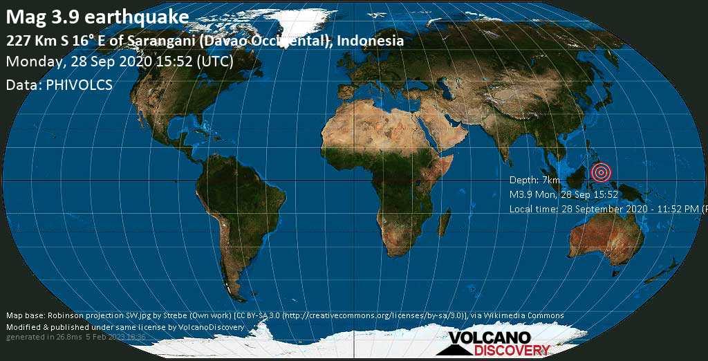Minor mag. 3.9 earthquake  - 227 Km S 16° E of Sarangani (Davao Occidental), Indonesia on Monday, 28 September 2020