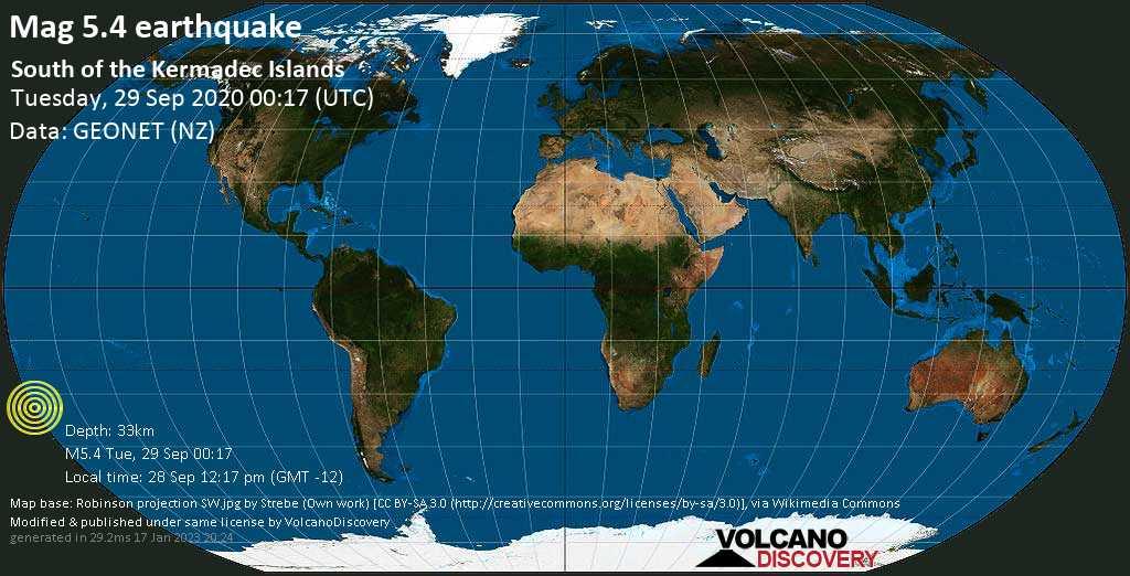 Moderado terremoto magnitud 5.4 - 734 km ENE of Auckland, New Zealand, martes, 29 sep. 2020