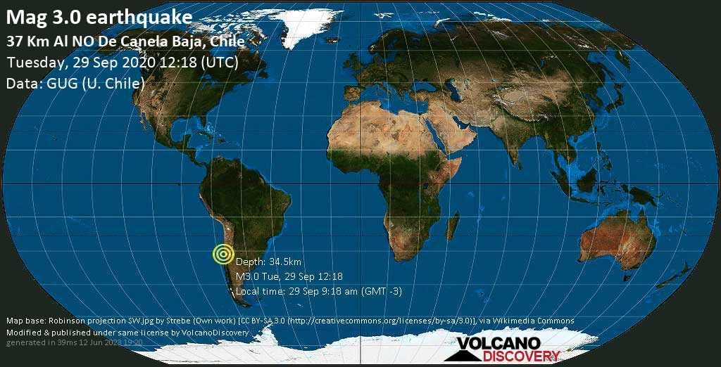 Minor mag. 3.0 earthquake  - 37 Km Al NO De Canela Baja, Chile on Tuesday, 29 September 2020