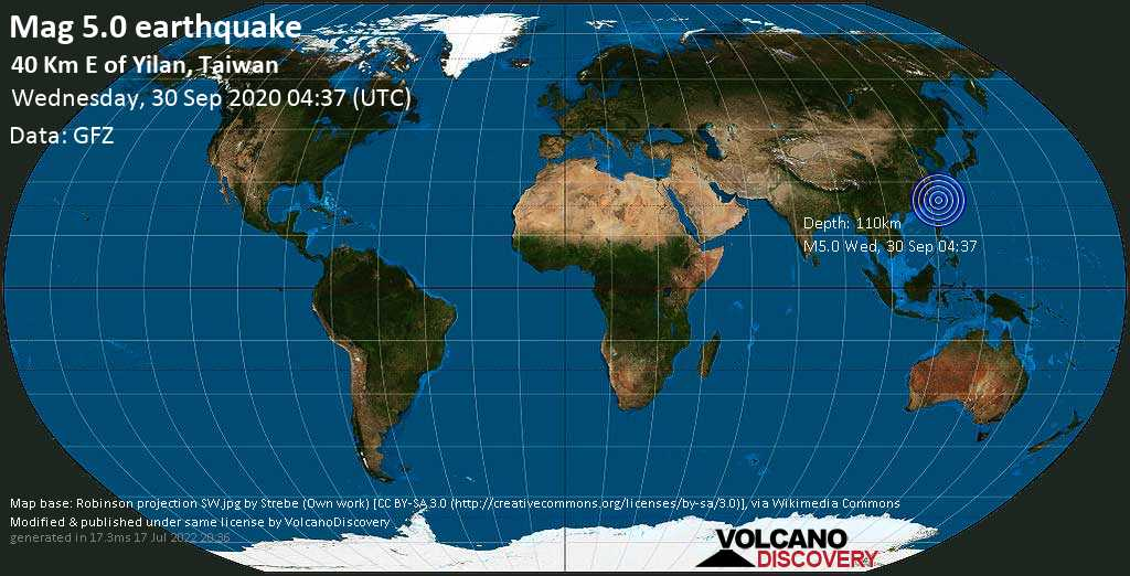 Moderate mag. 5.0 earthquake  - 40 Km E of Yilan, Taiwan on Wednesday, 30 September 2020