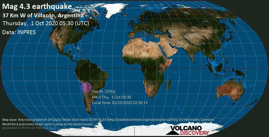 Light mag. 4.3 earthquake - 37 km west of Villazón, Modesto Omiste, Departamento de Potosí, Bolivia, Argentina, on 01/10/2020 02:30:15
