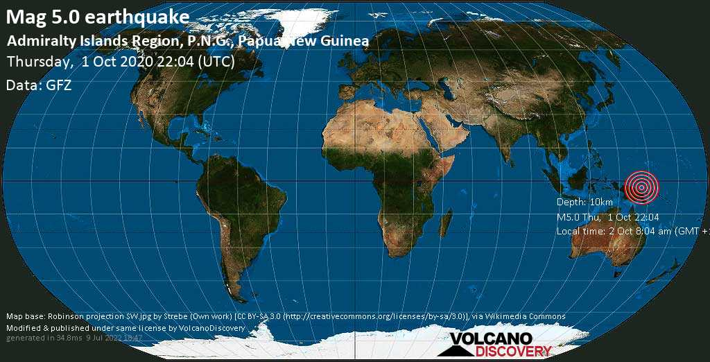 Moderate mag. 5.0 earthquake  - 205 km east of Wewak, East Sepik, Papua New Guinea, on 2 Oct 8:04 am (GMT +10)