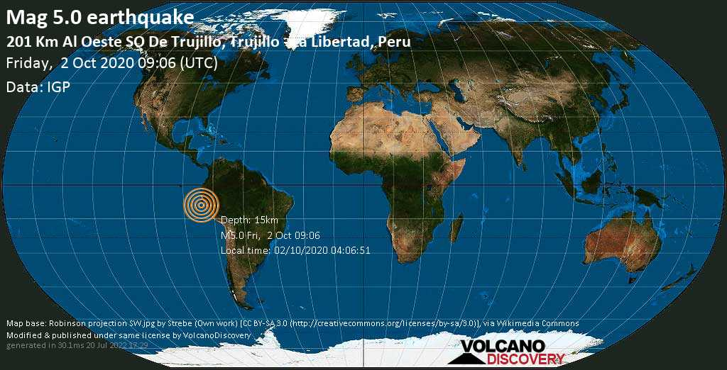 Moderate mag. 5.0 earthquake  - 2 km southwest of Trujillo, La Libertad, Peru, on 02/10/2020 04:06:51