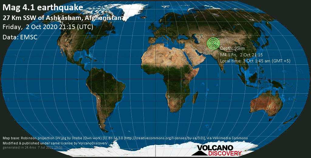 Light mag. 4.1 earthquake - 35 km southwest of Ishqoshim, Ishkoshim, Vilojati Muxtori Kūhistoni Badaxşon, Tajikistan, Afghanistan, on 3 Oct 1:45 am (GMT +5)