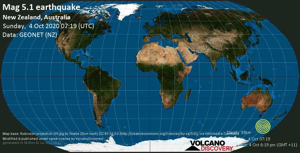 Moderate mag. 5.1 earthquake  - New Zealand, Australia, on 4 Oct 6:19 pm (GMT +11)