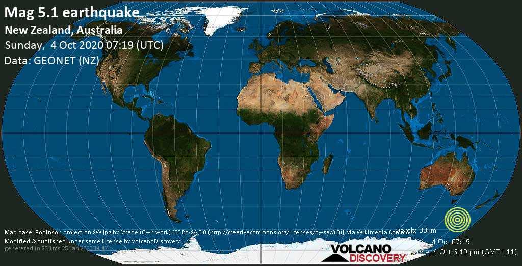 Moderate mag. 5.1 earthquake  - New Zealand, Australia on Sunday, 4 October 2020