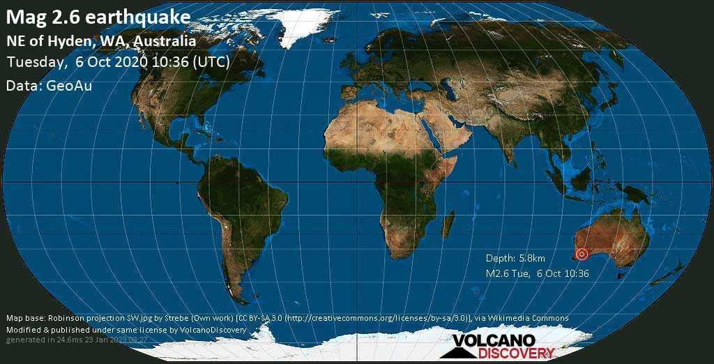 Mag. 2.6 earthquake  - NE of Hyden, WA, Australia, on Tuesday, 6 October 2020 at 10:36 (GMT)