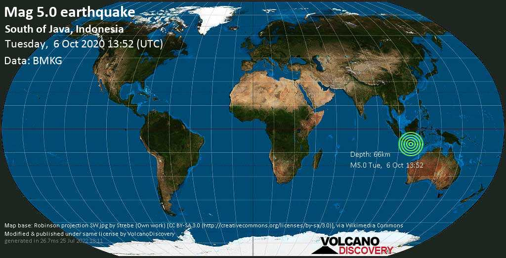 Moderate mag. 5.0 earthquake  - 254 km south of Surabaya, East Java, Indonesia, on Tuesday, 6 October 2020 at 13:52 (GMT)