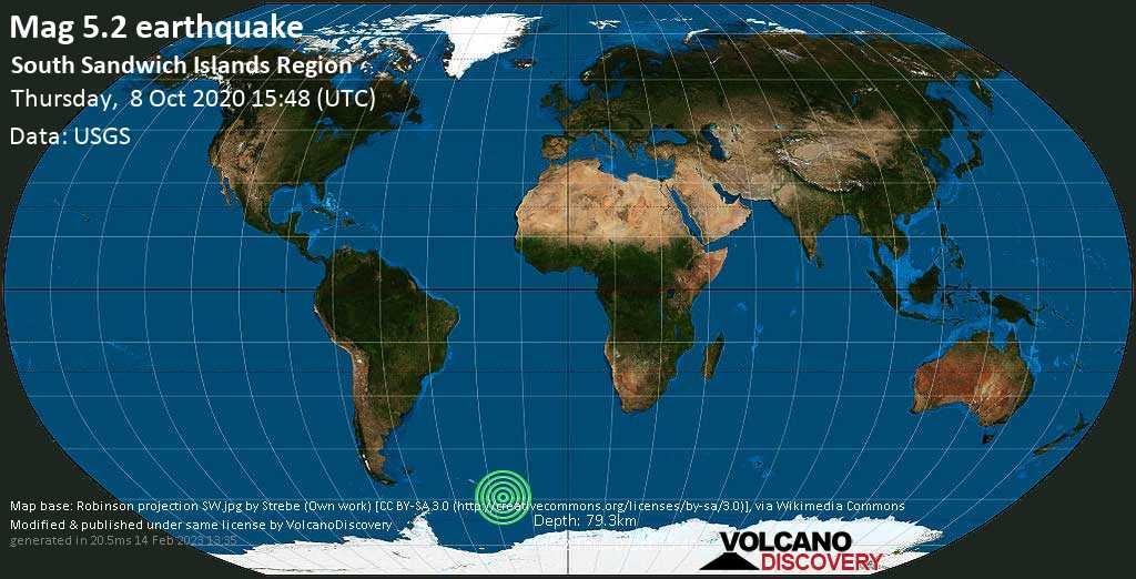 Moderado terremoto magnitud 5.2 - South Sandwich Islands Region, jueves, 08 oct. 2020