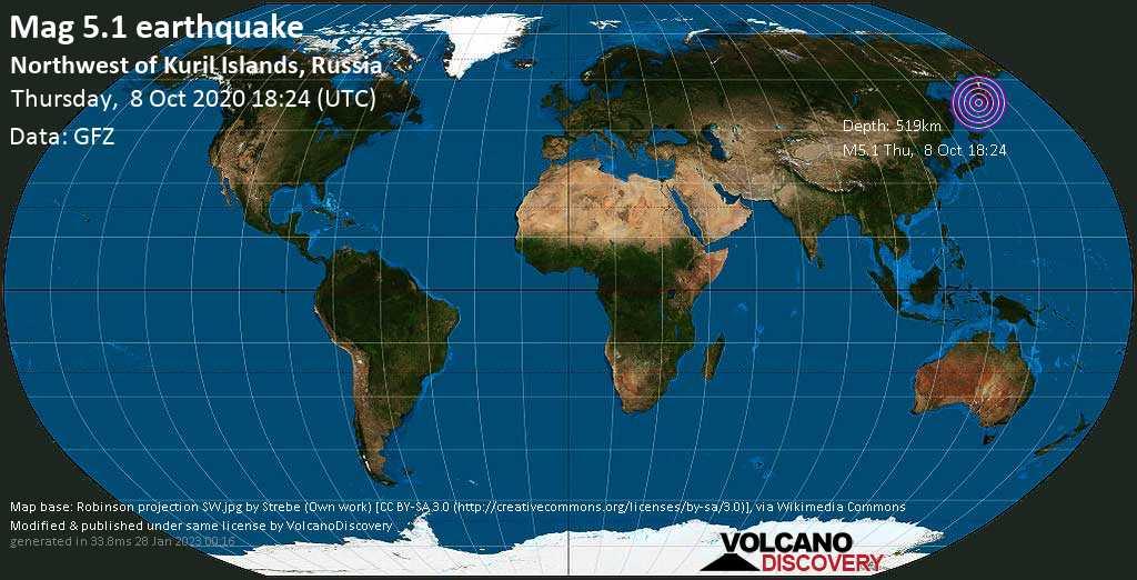 Moderado terremoto magnitud 5.1 - 404 km W of Petropavlovsk-Kamchatskiy, Kamchatka, Russia, jueves, 08 oct. 2020