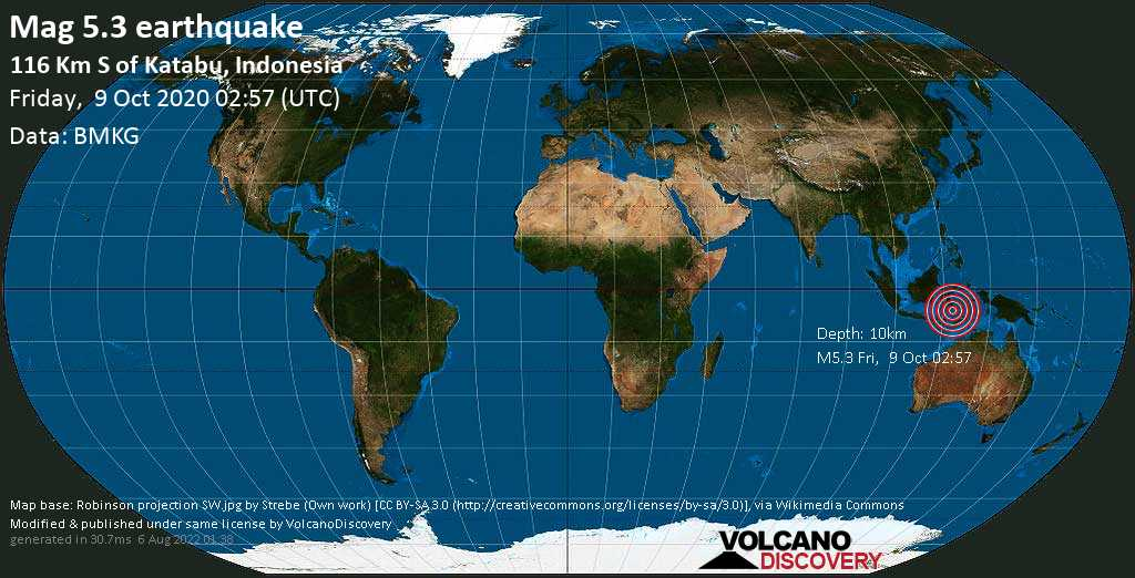 Moderate mag. 5.3 earthquake  - 116 Km S of Katabu, Indonesia, on Friday, 9 October 2020 at 02:57 (GMT)