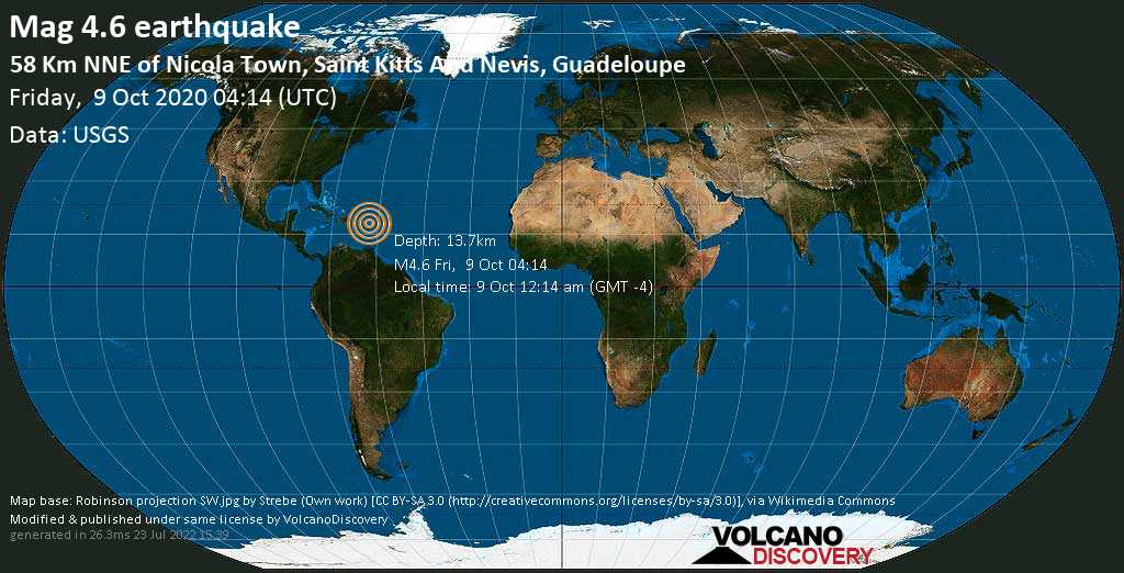 Moderate mag. 4.6 earthquake - 39 km east of Gustavia, St. Barthélemy, Guadeloupe, on 9 Oct 12:14 am (GMT -4)