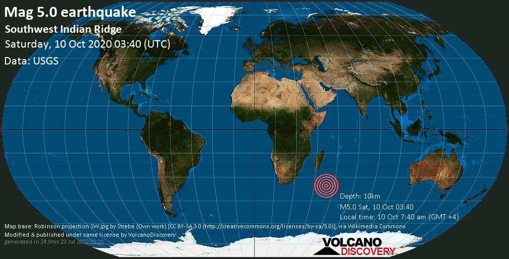 Moderate mag. 5.0 earthquake  - Southwest Indian Ridge on 10 Oct 7:40 am (GMT +4)