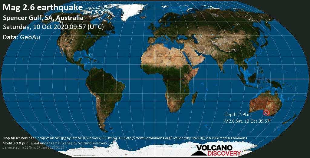Mag. 2.6 earthquake  - Spencer Gulf, SA, Australia, on Saturday, 10 October 2020 at 09:57 (GMT)