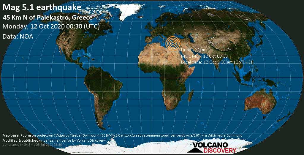 Moderate mag. 5.1 earthquake  - 45 km N of Palekastro, Greece on Monday, 12 October 2020