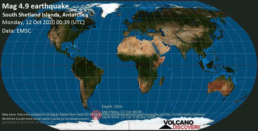 Mag. 4.9 earthquake  - South Atlantic Ocean, Antarctica, on 11 Oct 9:39 pm (GMT -3)