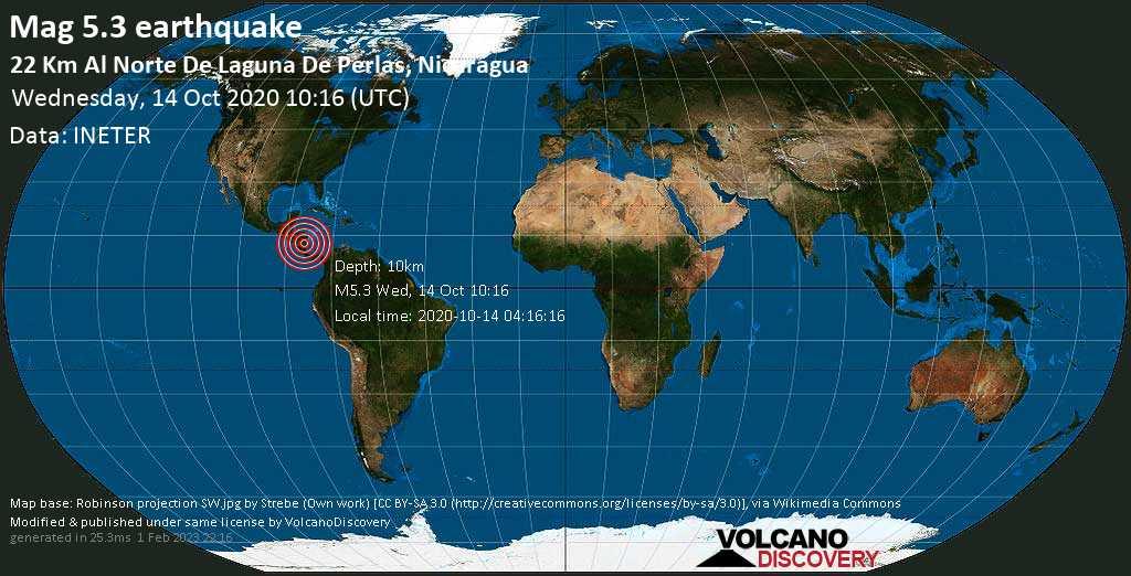 Moderato terremoto magnitudine 5.3 - 22 km north da Laguna de Perlas, Región Autónoma de la Costa Caribe Sur, Nicaragua, mercoledì, 14 ottobre 2020