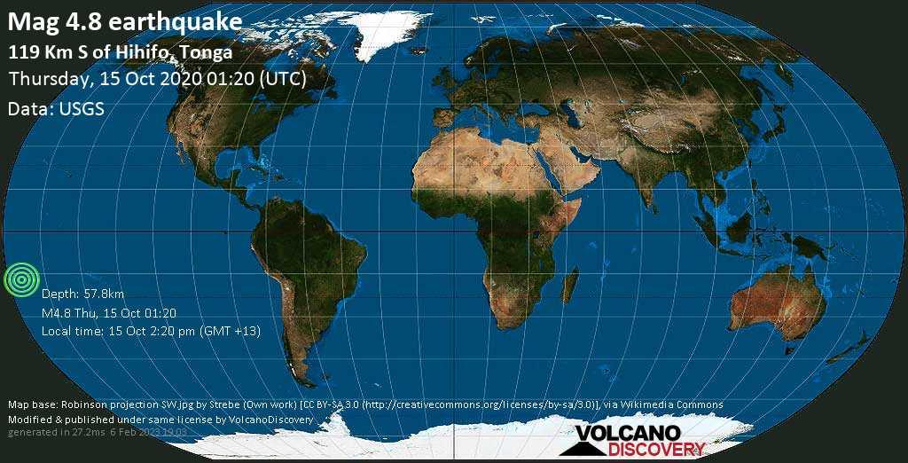 Mag. 4.8 earthquake  - 181 km north of Neiafu, Vava'u, Tonga, on Thursday, 15 Oct 2.20 pm (GMT +13)