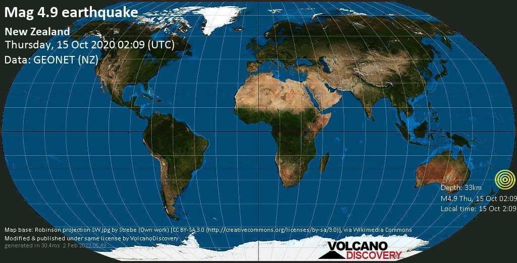 Erdbeben der Stärke 4.9 - South Pacific Ocean, 785 km nordöstlich von Whangarei, Northland, Neuseeland, am Donnerstag, 15. Okt 2020 um 02:09 GMT