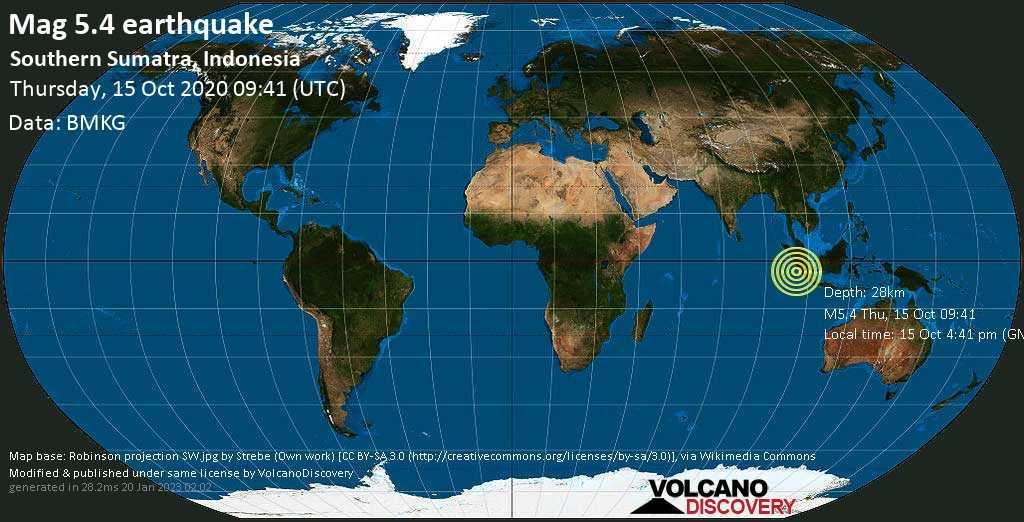 Moderado terremoto magnitud 5.4 - 254 km S of Padang, West Sumatra, Indonesia, jueves, 15 oct. 2020
