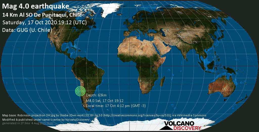 Light mag. 4.0 earthquake  - 14 Km Al SO De Punitaqui, Chile, on 17 Oct 4:12 pm (GMT -3)