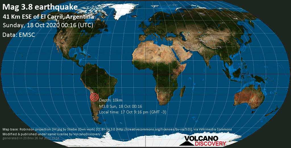 Minor mag. 3.8 earthquake  - 41 Km ESE of El Carril, Argentina, on 17 Oct 9:16 pm (GMT -3)