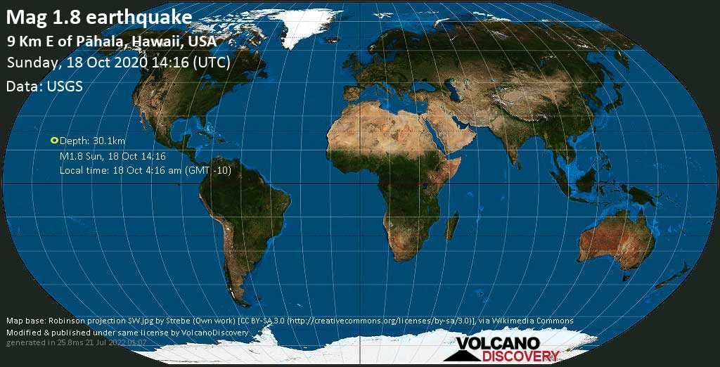 Sehr schwaches Beben Stärke 1.8 - 9.3 km östlich von Pāhala, Hawaii County, USA, am Sonntag, 18. Okt 2020 um 14:16 GMT