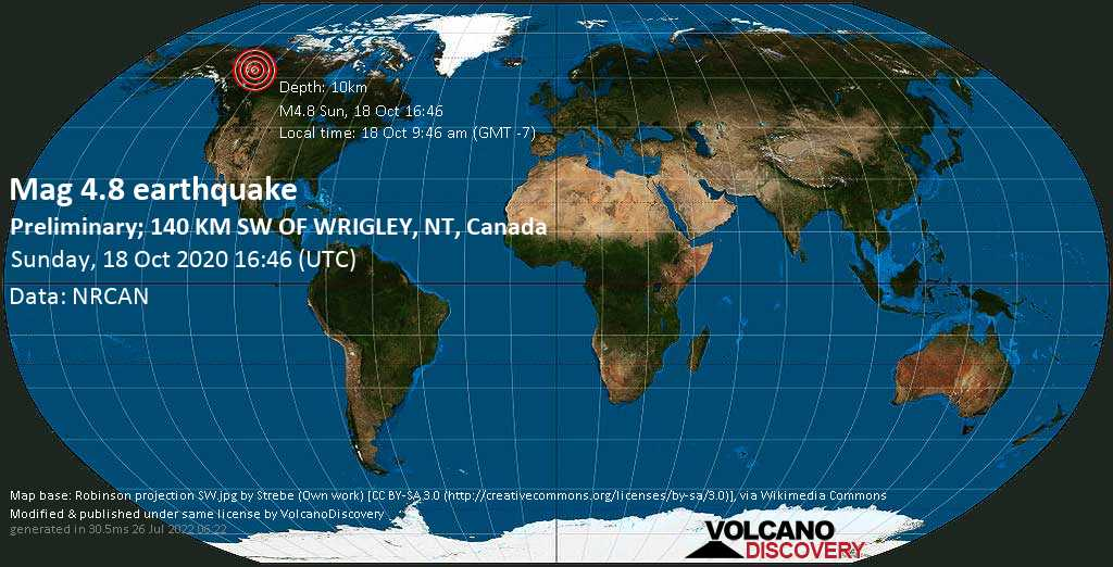 Light mag. 4.8 earthquake  - Preliminary; 140 KM SW OF WRIGLEY, NT, Canada on Sunday, 18 October 2020