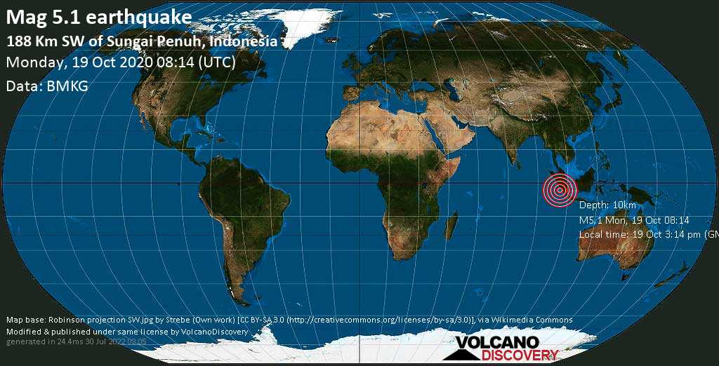 Moderate mag. 5.1 earthquake  - 267 km south of Padang, West Sumatra, Indonesia, on 19 Oct 3:14 pm (GMT +7)