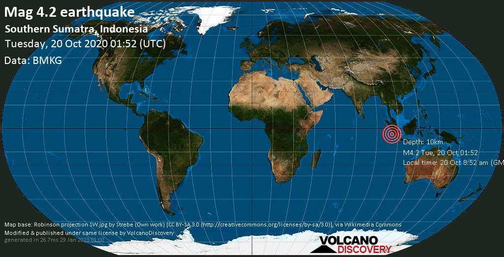 Leve terremoto magnitud 4.2 - Indonesian Ocean, 2 km SW of Sungai Penuh, Jambi, Indonesia, martes, 20 oct. 2020