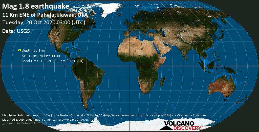 Mag. 1.8 earthquake  - 11 Km ENE of Pāhala, Hawaii, USA, on 19 Oct 5:00 pm (GMT -10)