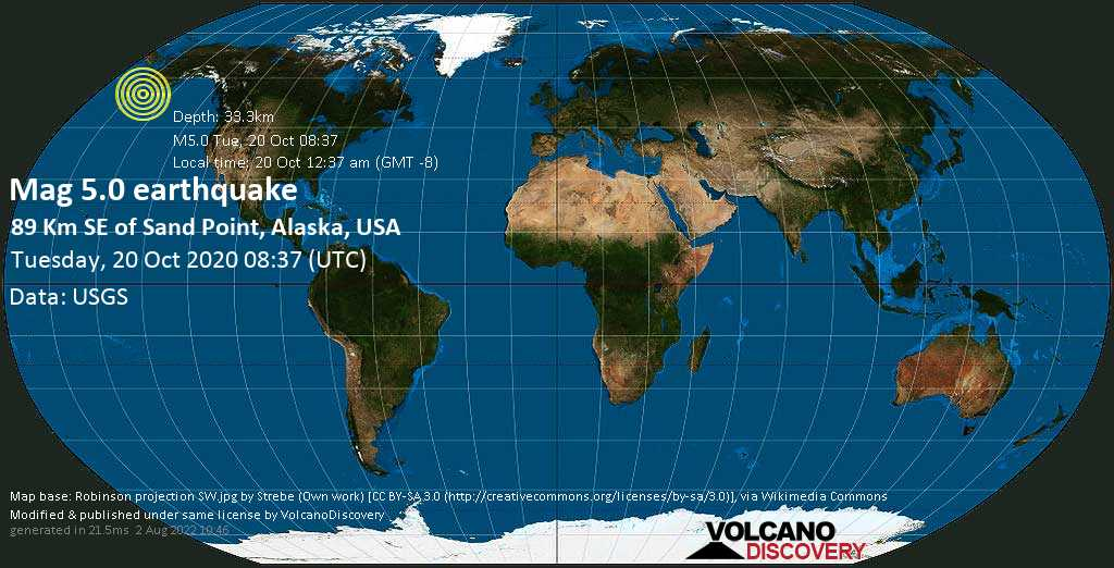 Moderate mag. 5.0 earthquake  - 89 Km SE of Sand Point, Alaska, USA, on 20 Oct 12:37 am (GMT -8)