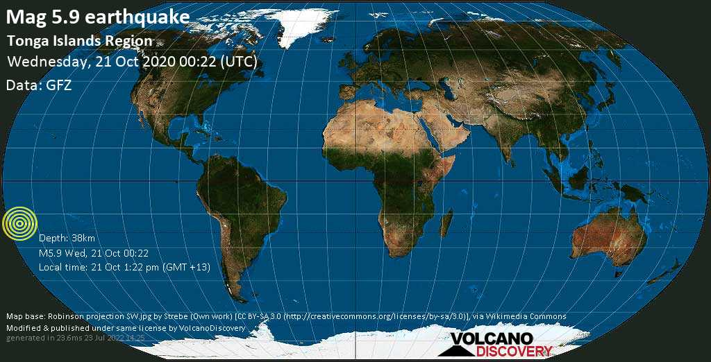 Moderate mag. 5.9 earthquake  - South Pacific Ocean, 148 km southeast of Neiafu, Vava'u, Tonga, on Wednesday, 21 Oct 2020 1:22 pm (GMT +13)
