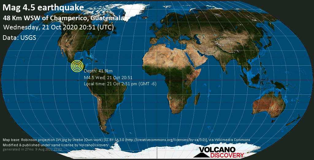 Light mag. 4.5 earthquake - 92 km south of Tapachula, Chiapas, Mexico, Guatemala, on Wednesday, 21 Oct 2020 2:51 pm (GMT -6)