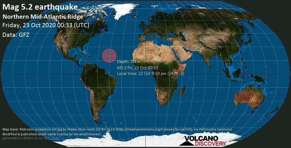 Moderate mag. 5.2 earthquake  - - northern Mid-Atlantic Ridge on Thursday, 22 Oct 9.33 pm (GMT -3)