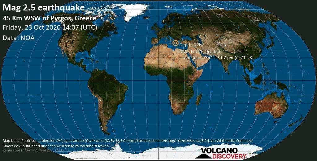 Debile terremoto magnitudine 2.5 - 45 Km WSW of Pyrgos, Greece, venerdì, 23 ottobre 2020