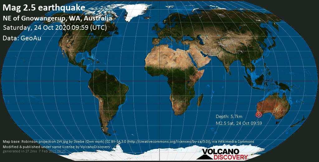 Mag. 2.5 earthquake  - NE of Gnowangerup, WA, Australia, on Saturday, 24 October 2020 at 09:59 (GMT)