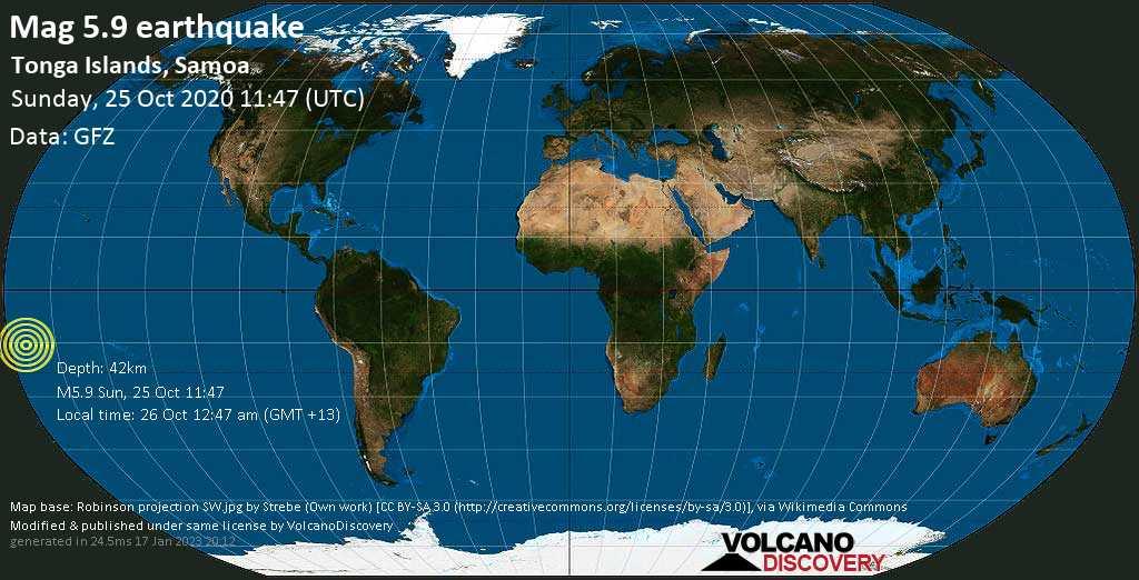 Moderado terremoto magnitud 5.9 - 255 km SW of Apia, Tuamasaga, Samoa, domingo, 25 oct. 2020
