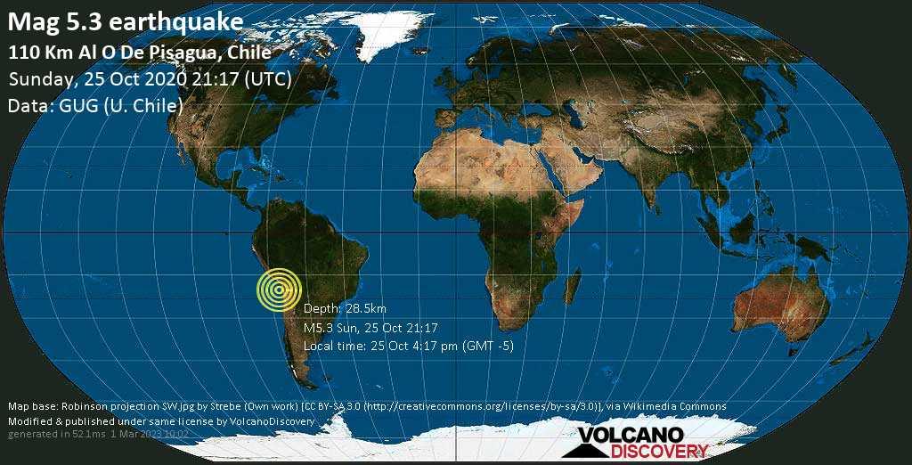 Moderato terremoto magnitudine 5.3 - 112 km west da Iquique, Tarapacá, Cile domenica, 25 ottobre 2020
