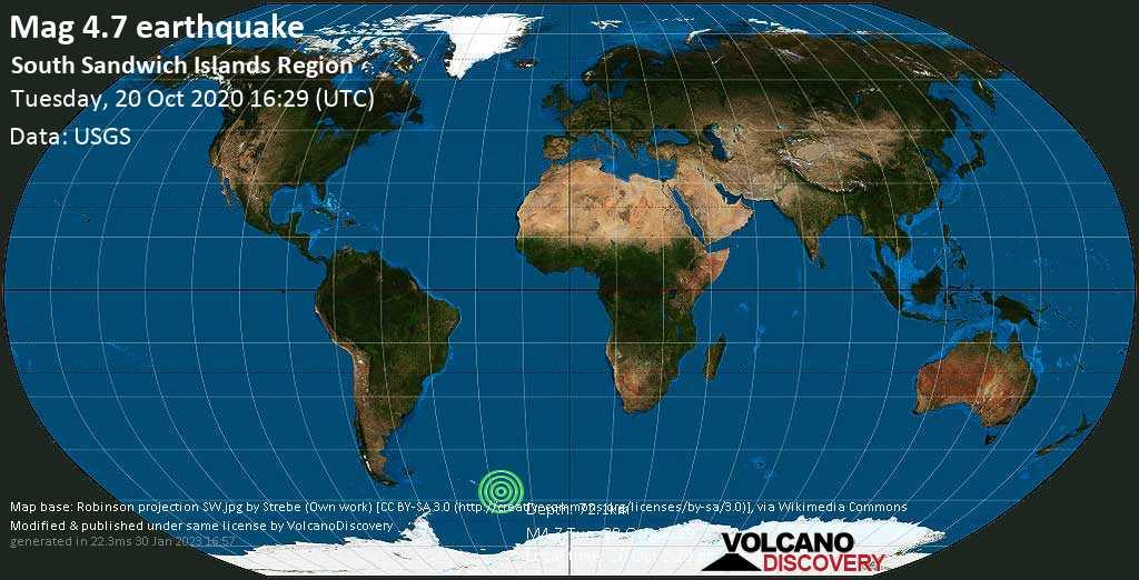 Light mag. 4.7 earthquake - South Atlantic Ocean, South Georgia & South Sandwich Islands, on Tuesday, 20 Oct 2020 2:29 pm (GMT -2)