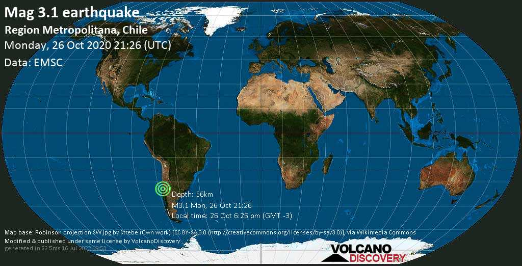 Mag. 3.1 earthquake  - Provincia de Melipilla, Santiago Metropolitan, 28 km southwest of Melipilla (Región Metropolitana), Chile, on 26 Oct 6:26 pm (GMT -3)
