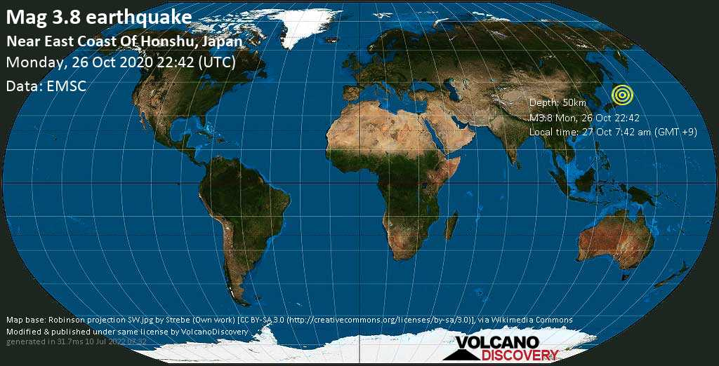 Mag. 3.8 earthquake  - 128 km northeast of Sendai, Japan, on 27 Oct 7:42 am (GMT +9)