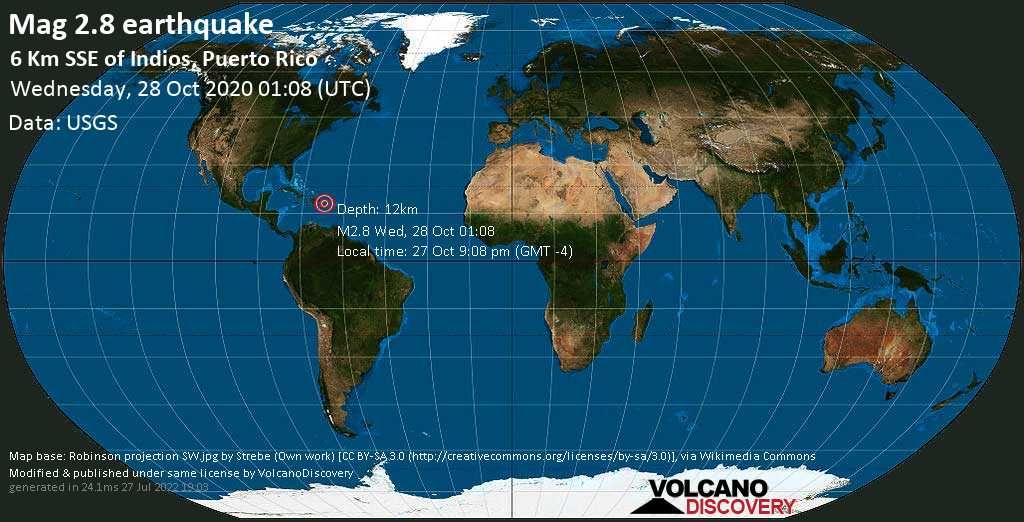 Mag. 2.8 earthquake  - 6 Km SSE of Indios, Puerto Rico, on 27 Oct 9:08 pm (GMT -4)